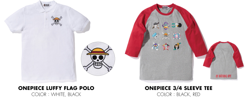 ONEPIECE LUFFY FLAG POLO ONEPIECE 3/4 SLEEVE TEE